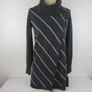 White House Black Market Gray Stripe Cowl Neck XS
